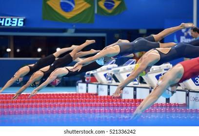 Rio De Janeiro, Brazil 15 August 2016: The Olympic Aquatics Center in Rio Olympic Park during Rio 2016 Olympic Games.