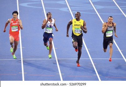 Rio De Janeiro, Brazil 15 August 2016: Athlets Jamaica's Usain Bolt, during a semifinal men's 100 meters at the Olympic Summer Games in Rio de Janeiro.
