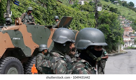 Rio de Janeiro, Brazil  16th March, 2018 Brazilian army soldiers on an assault car patrols the Viradouro shantytown.Brazilian army intervene in the Rio de Janeiro´s security.