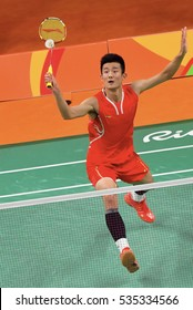 Rio De Janeiro, Brazil 20 August 2016: China player, Chen Long, when playing against Malaysia player, Lee Chong Wei in the final, Rio De Janeiro, Brazil.