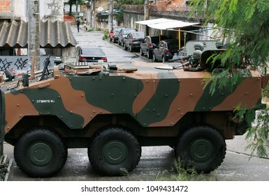 Rio de Janeiro, Brazil  23rd, February, 2018    Brazilian army soldiers patrolls on assault car the Vila Keneddy shantytown, 45 Km far from Rio de Janeiro downtown.