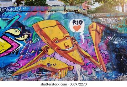 RIO DE JANEIRO, BRAZIL -25 JULY 2015- Graffiti street art murals along Ipanema beach in Rio de Janeiro.