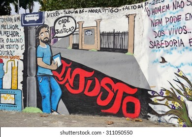 RIO DE JANEIRO, BRAZIL -25 JULY 2015- Graffiti street art murals line the streets and back alleys of Rio de Janeiro, especially in the Santa Teresa and Lapa neighborhoods.