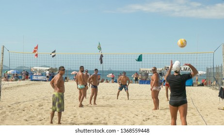 RIO DE JANEIRO, BRAZIL- 26, MAY, 2016: serve in game of volleyball on copacabana beach in rio
