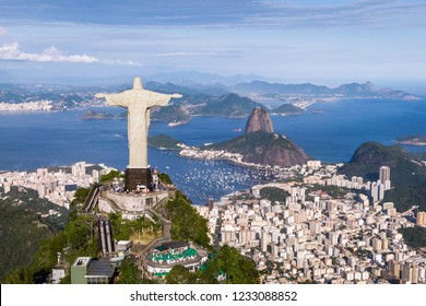 Rio de Janeiro, Brazil, aerial view of Christ the Redeemer statue and Sugarloaf Mountain.