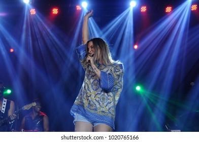 Rio de Janeiro, Brazil, April 8, 2015. Singer Claudia Leite during her show at the HSBC Arena in the city of Rio de Janeiro.