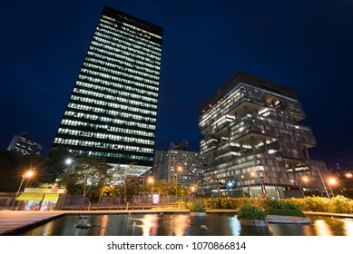 Rio de Janeiro, Brazil - April 12, 2018: Petrobras Headquarters Building in downtown Rio de Janeiro at night. Petrobras is oil and gas industry giant in Brazil.