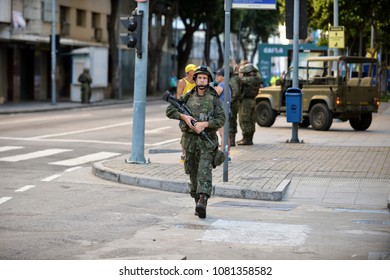 Rio de Janeiro, Brazil - april 29, 2018:  Army makes patrol on the streets of the city center of Rio de Janeiro, after intervention in the state security