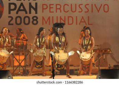 Rio de Janeiro - Brazil April 11, 2013, Perc Pan Festival, world percussive festival, in the city of rio de janeiro. presentation of the group AMAZONES