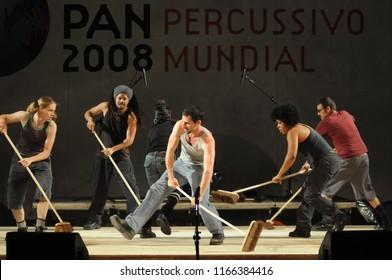 Rio de Janeiro - Brazil April 11, 2013, Perc Pan Festival, world percussive festival, in the city of rio de janeiro. presentation of the group Stomp