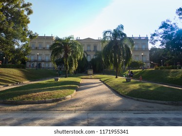 RIO DE JANEIRO, BRAZIL - APRIL 23, 2016: The National Museum was one of the leading museums of natural history and anthropology in the Americas. It is located inside the park of Quinta da Boa Vista.