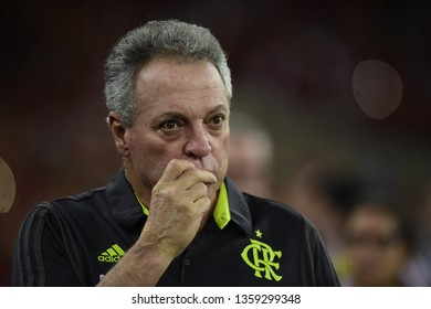 Rio de Janeiro, Brazil, april 03, 2019.Abel Braga Flamengo coach in   Flamengo team during a match against PENAROL  by the Copa Libertadores of America in the Maracanã stadium.
