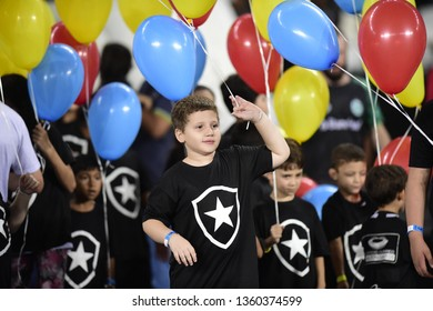 Rio de Janeiro- Brazil April 3, 2019 Children enter with colored balloons before the match between Botafogo and Juventude, match of the 2019 Brazil Cup, in the stadium Nilton Santos