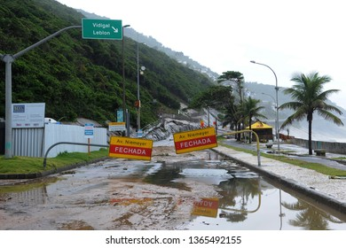 Rio de Janeiro, Brazil, April 9, 2019. Track is closed after the storm on Av Niemeyer, in the south zone of the city of Rio de Janeiro