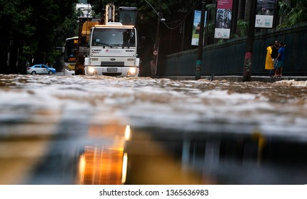 Rio de Janeiro, Brazil   April 09, 2019  a truck crosses a flooded street in Rio de Janeiro where 10 people dead on April 08 and 09 due to strong rains.