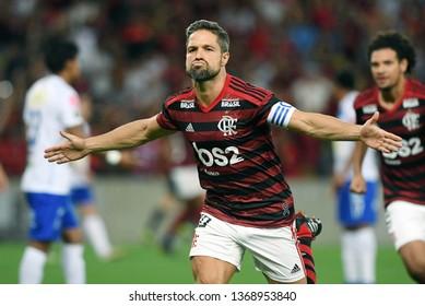 Rio de Janeiro, Brazil, April 11, 2019. Soccer player Diego of the Flamengo team celebrates his goal during the game Flamengo vs. San José by the Copa Libertadores in the stadium of the Maracanã.