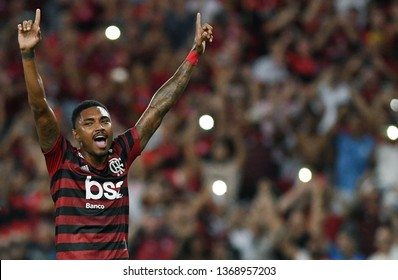 Rio de Janeiro, Brazil, April 11, 2019. Soccer player Vitinho of the Flamengo team celebrates their goal during the game Flamengo vs. San José by the Copa Libertadores in the stadium of the Maracanã.