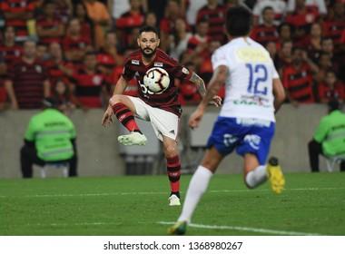 Rio de Janeiro, Brazil, April 11, 2019. Football player Pará of the Flamengo team, during the game Flamengo vs. San José by the Copa Libertadores in the Maracanã stadium.