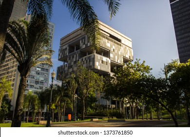 Rio de Janeiro, Brazil - April 15, 2019:   Petrobras Headquarters Building from the BNDES building garden viewpoint. Petrobras is oil and gas industry giant in Brazil.