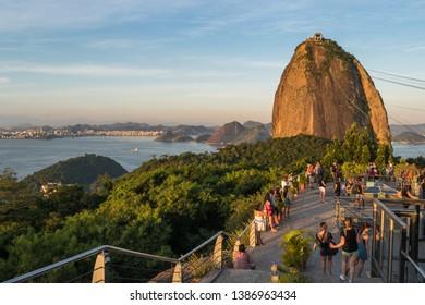 Rio de Janeiro, Rio de Janeiro, Brazil, April 2019 - tourists enjoying a beautiful day in Rio de Janeiro to visit Sugarloaf Mountain and watch a beautiful sunset
