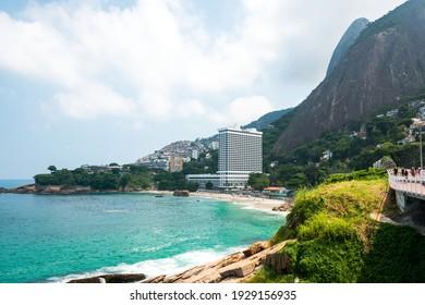 Rio de Janeiro, Brazil - April 2, 2016: View of Praia do Vidigal beach from hotel