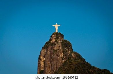 RIO DE JANEIRO, BRAZIL - APRIL 6: The famous landmark of Rio de Janeiro - Christ the Redeemer statue on the Corcovado mountain on 6 April 2014.