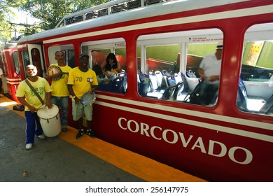 RIO DE JANEIRO, BRAZIL - APRIL 25, 2013: Corcovado Train transporting tourists daily to the statue Christ the Redeemer.