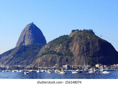 RIO DE JANEIRO, BRAZIL - APRIL 25, 2013: Enseada de Botafogo and Sugar Loaf mountain in the background.