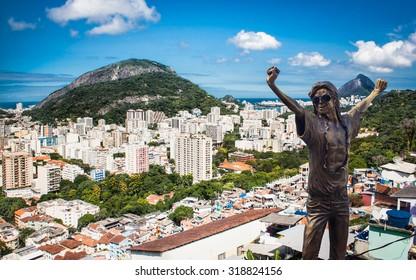 RIO DE JANEIRO, BRAZIL - APRIL 27, 2015: Michael Jackson memorial at Santa Marta in Rio de Janeiro on April 27, 2015, Brazil. The statue was built shortly after musician's death in year 2009.