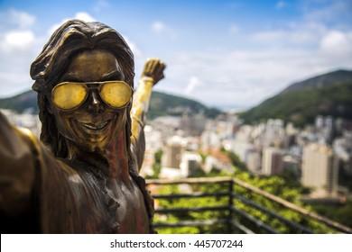 RIO DE JANEIRO, BRAZIL - APRIL 24, 2016: Michael Jackson memorial at Santa Marta in Rio de Janeiro on April 27, 2015, Brazil. The statue was built shortly after musician's death in year 2009.