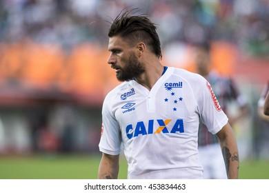 Rio de Janeiro, Brazil - April 10, 2016: Rafael Sobis player in match between Fluminense and Cruzeiro by the Brazilian championship in the Giulite Coutinho Stadium