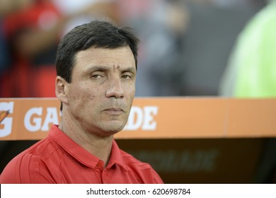Rio de Janeiro, Brazil - april 12, 2017: Ricardo coach in match between Flamengo and Atletico-PR by the Libertadores championship in Maracana Stadium