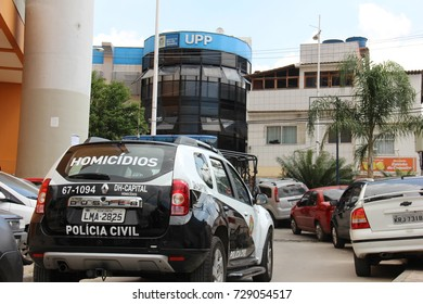 Rio de Janeiro, Brazil, April 17, 2015: PMERJ police cars in the area of the Pacifying Police Unit - UPP of Complexo do Alemão, one of the most dangerous areas of the city.