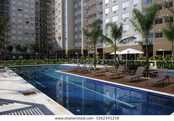 Rio de Janeiro -Brazil, April 3, 2018 photos of swimming pools in condominiums of economical middle class apartments in Brazil.