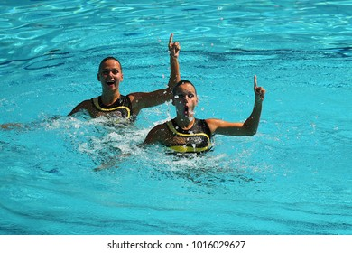 RIO DE JANEIRO, BRAZIL - AUGUST 15, 2016: Alexandra and Yekaterina Nemich of Kazakhstan compete during the synchronized swimming duet technical routine preliminary round at the Rio Olympics  2016 Summer Olympics