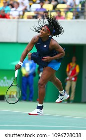 RIO DE JANEIRO, BRAZIL - AUGUST 7, 2016: Olympic champions Serena Williams of United States in action during singles first round match of the Rio 2016 Olympic Games at the Olympic Tennis Centre