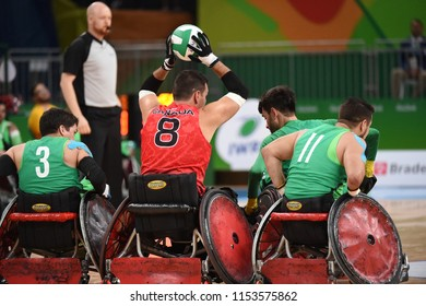 Rio de Janeiro - Brazil, August 11, 2016, Paralympic Games Rio 2016. rugby game of wheelers between the teams of Brazil and Australia