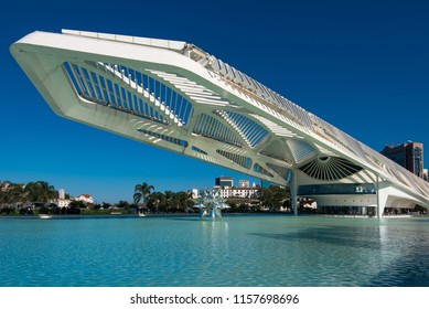 Rio de Janeiro, Brazil - August 11, 2018: The Museum of Tomorrow, a science museum in Rio de Janeiro. Designed by Spanish architect Santiago Calatrava and built next to the waterfront at Pier Maua.