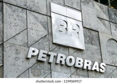 Rio de Janeiro, Brazil - August 21, 2018: Sign on the facade of the central barracks building of Petrobras oil company