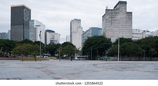 Rio de Janeiro, Brazil - August 18 2013: Arches of Lapa and city in downtown.