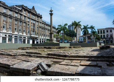 Rio de Janeiro, Brazil, August 3, 2018: Cais do Valongo (Valongo Wharf), an archaeological site reconized by Unesco as a World Heritage Site. It was the largest port of landing of slaves in Americas.