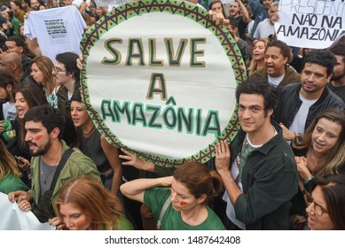 RIO DE JANEIRO, BRAZIL, AUGUST, 25,2019: rally in favor of the Amazon and against the government of Brazil's then president Jair Bolsonaro gathered thousands of people on ipanema beach