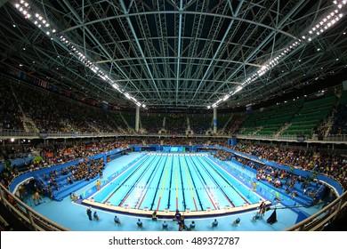 RIO DE JANEIRO, BRAZIL - AUGUST 10, 2016: The Olympic Aquatics Center in Rio Olympic Park during Rio 2016 Olympic Games