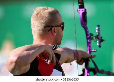 Rio de Janeiro, Brazil - august 05, 2016: Florin Foto (GER) during the Archery Rio Olympics 2016 held at the Sambadrome in the qualifying Round.