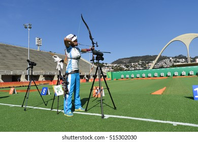 Rio de Janeiro, Brazil - august 05, 2016: Luiza SAIDIYEVA  (KAZ) during the Archery Rio Olympics 2016 held at the Sambadrome in the qualifying Round.