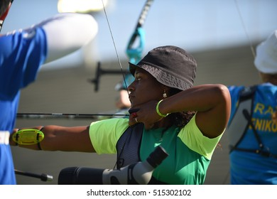 Rio de Janeiro, Brazil - august 05, 2016: Ane Marcelle dos SANTOS  (BRA) during the Archery Rio Olympics 2016 held at the Sambadrome in the qualifying Round.