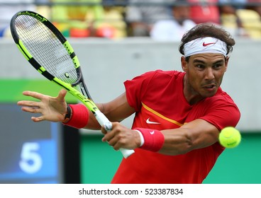 RIO DE JANEIRO, BRAZIL - AUGUST 11, 2016: Olympic champion Rafael Nadal of Spain in action during men's singles round four of the Rio 2016 Olympic Games at the Olympic Tennis Centre