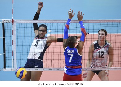 Rio de Janeiro, Brazil - august 06, 2016: ADAMS Rachael (USA) during volleyball game United States (USA) vs Puerto Rico (PUR) in maracanazinho in the Olympics Rio 2016 by the group phase