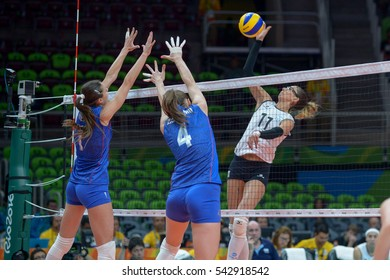 Rio de Janeiro, Brazil - august 06, 2016: LAZCANO Julieta Constanza (ARG) during volleyball game Russia (RUS) vs Argentina (ARG) in maracanazinho in the Olympics Rio 2016 by the group phase