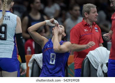Rio de Janeiro, Brazil - august 06, 2016: GONCHAROVA Nataliya (RUS) during volleyball game Russia (RUS) vs Argentina (ARG) in maracanazinho in the Olympics Rio 2016 by the group phase